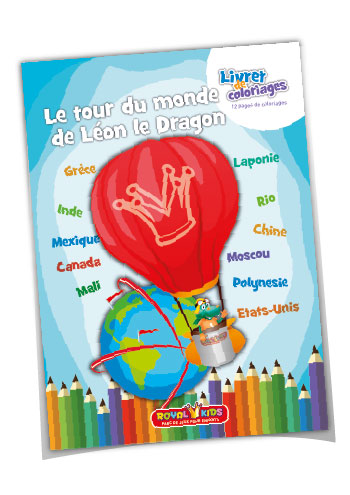 Coloriages Royal Kids - Livret de coloriage Le tour du monde de Léon